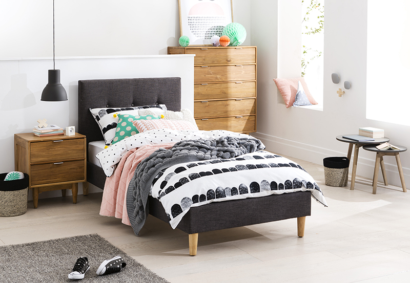 Jasper kids single bed pictured with Cino bedside table and tall boy
