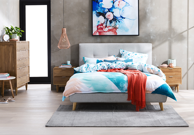 Tara queen bed pictured with Cino bedside tables and tall boy