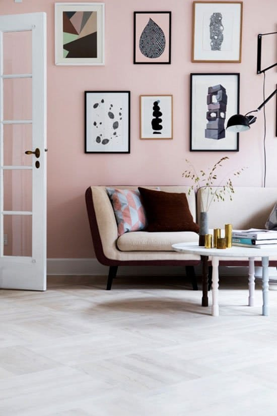 Blush pink gallery wall