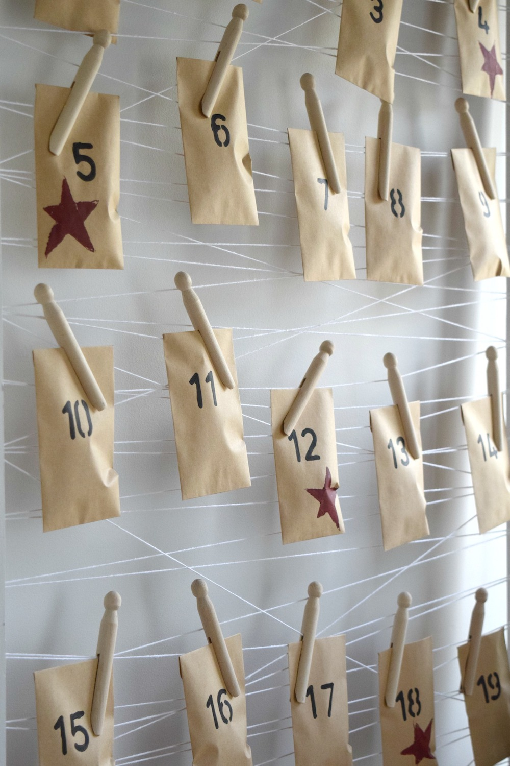 Close up DIY minimalist advent calendar