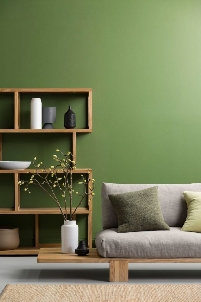 Green living room feature wall