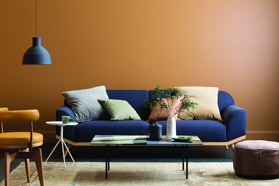 Mustard orange living room