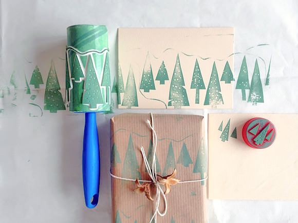 Stamped Christmas paper