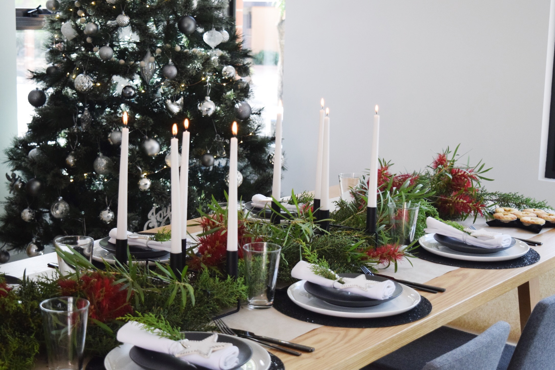 black and white christmas table styling with native australian twist style curator