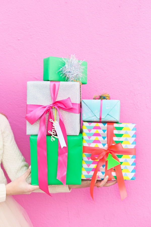Colourful Christmas gift wrapping