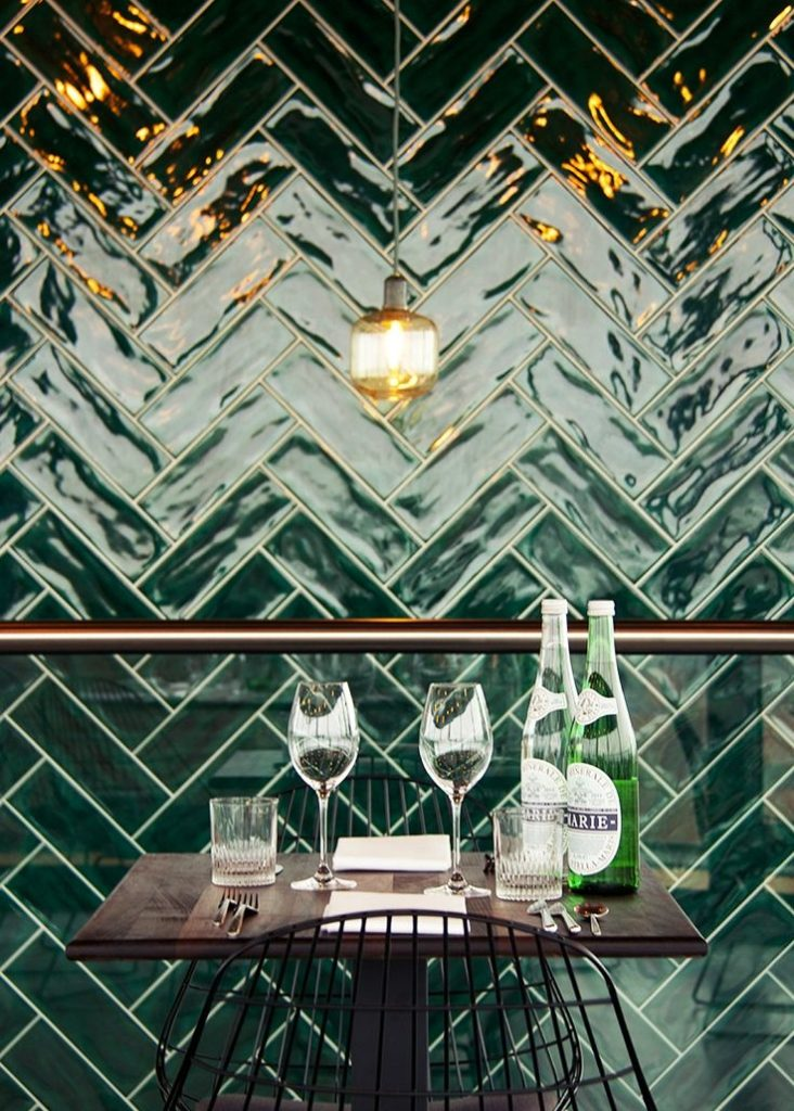 Green tile wall