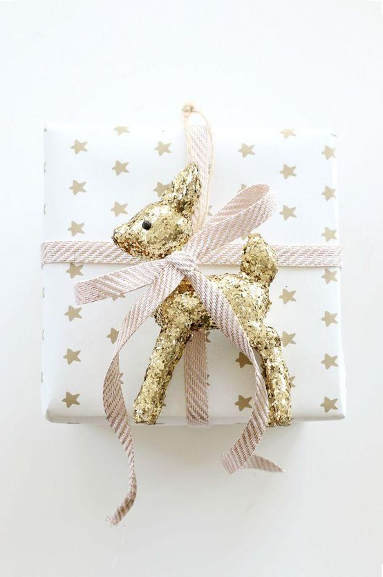 Gold Christmas gift wrapping