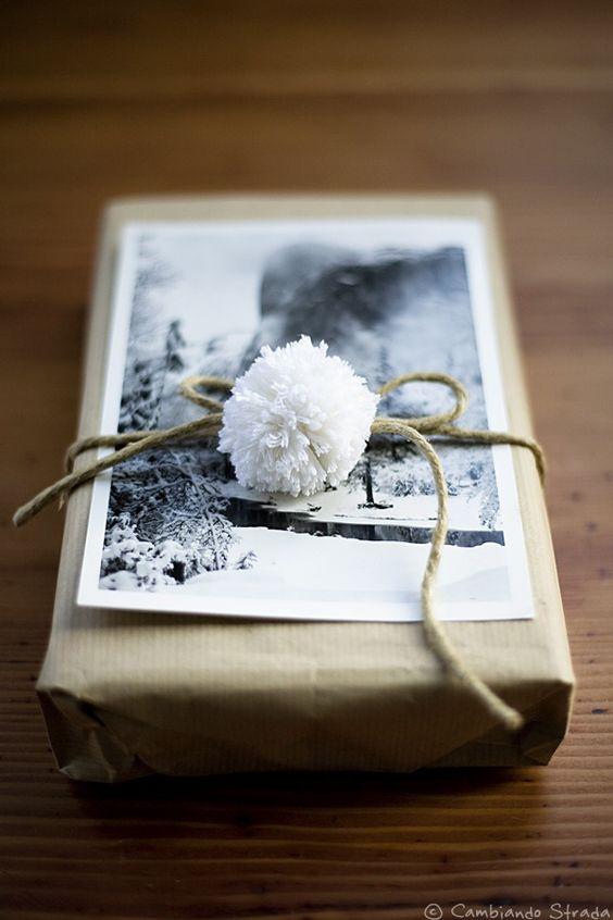 Photo on Christmas gift wrap