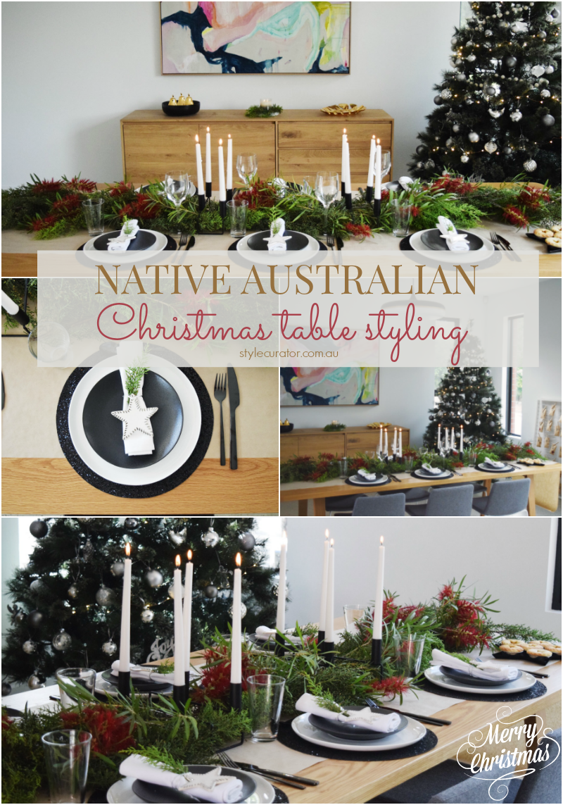 Black And White Christmas Table Styling With Native Australian Twist