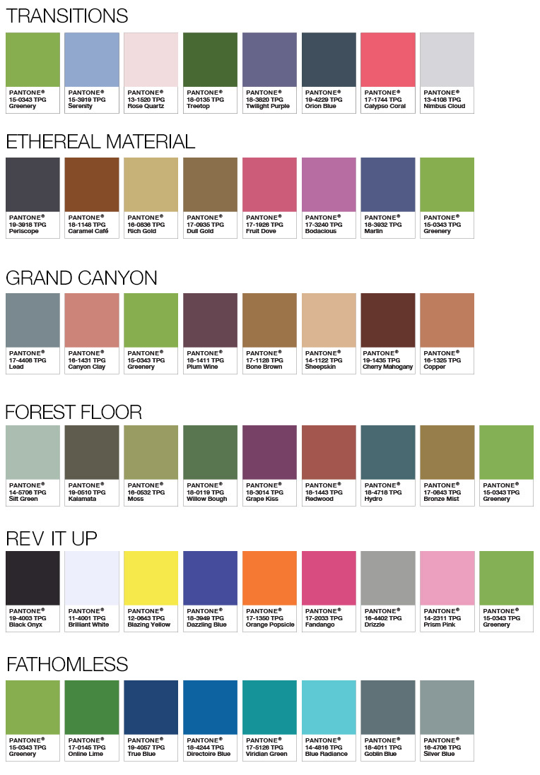 Full list of colours that pair with green