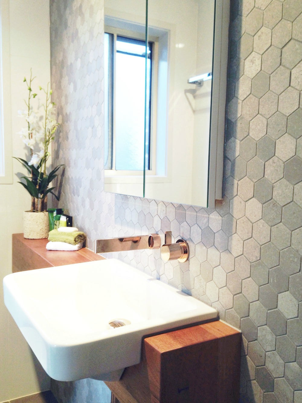 feature bathroom tiles reader renovation dated ensuite gets a modern hex 12827