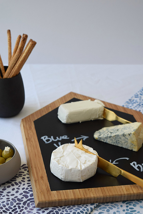 Close up of house cheeseboard