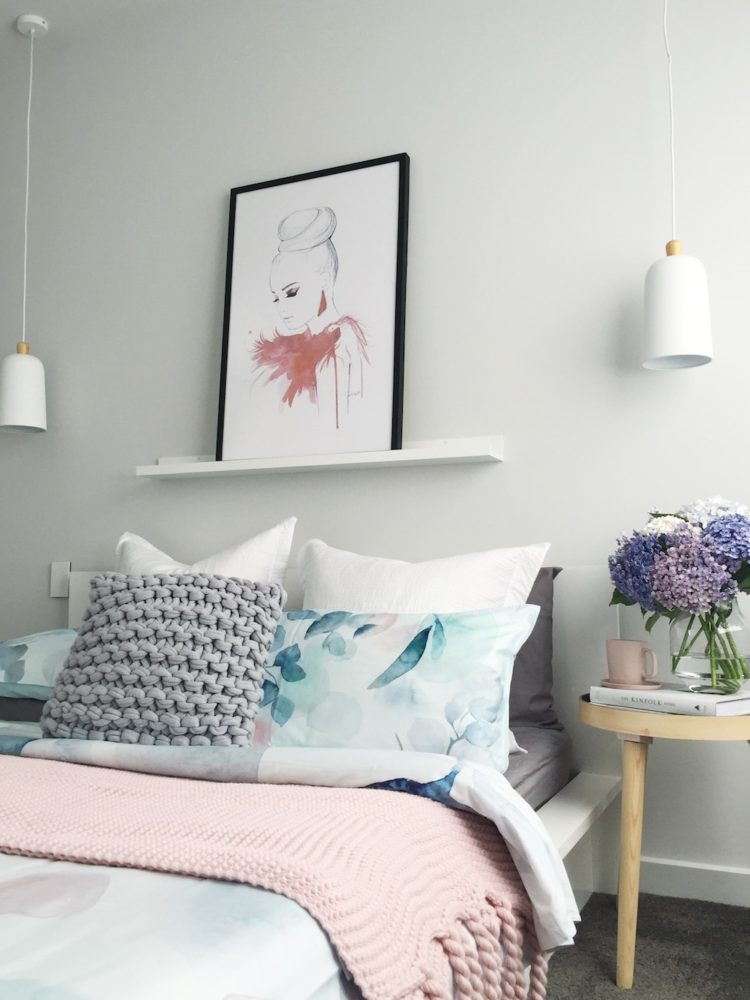 Soft blue and pink bedroom