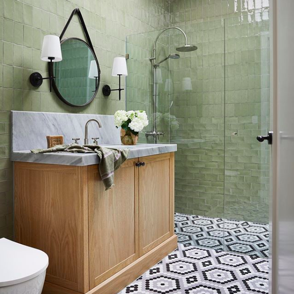 Green and mosaic tile by Kate Walker