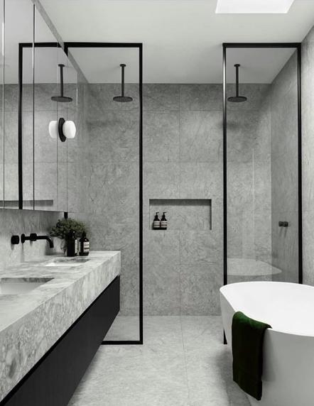 Grey and black bathroom