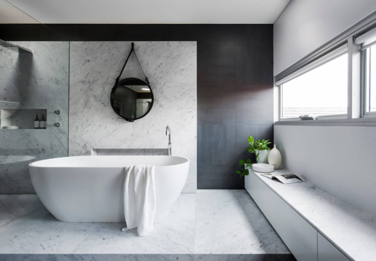 Grey and marble bathroom