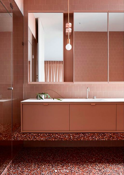 Bathrooms that don't use white tiles tonal terrazzo by Angela Harry