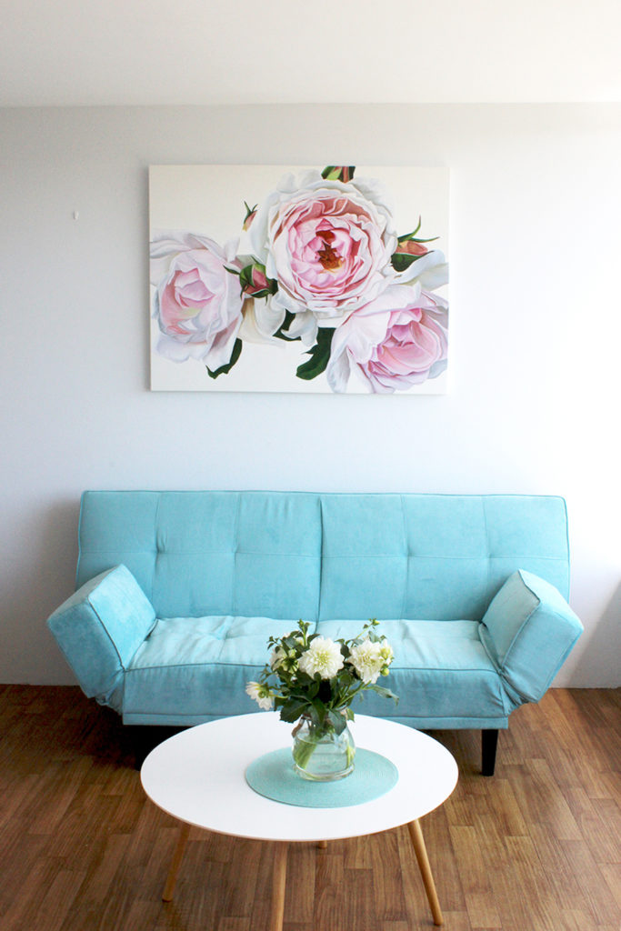 Floral artwork in living room