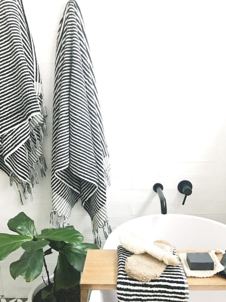 Turkish towels in bathroom