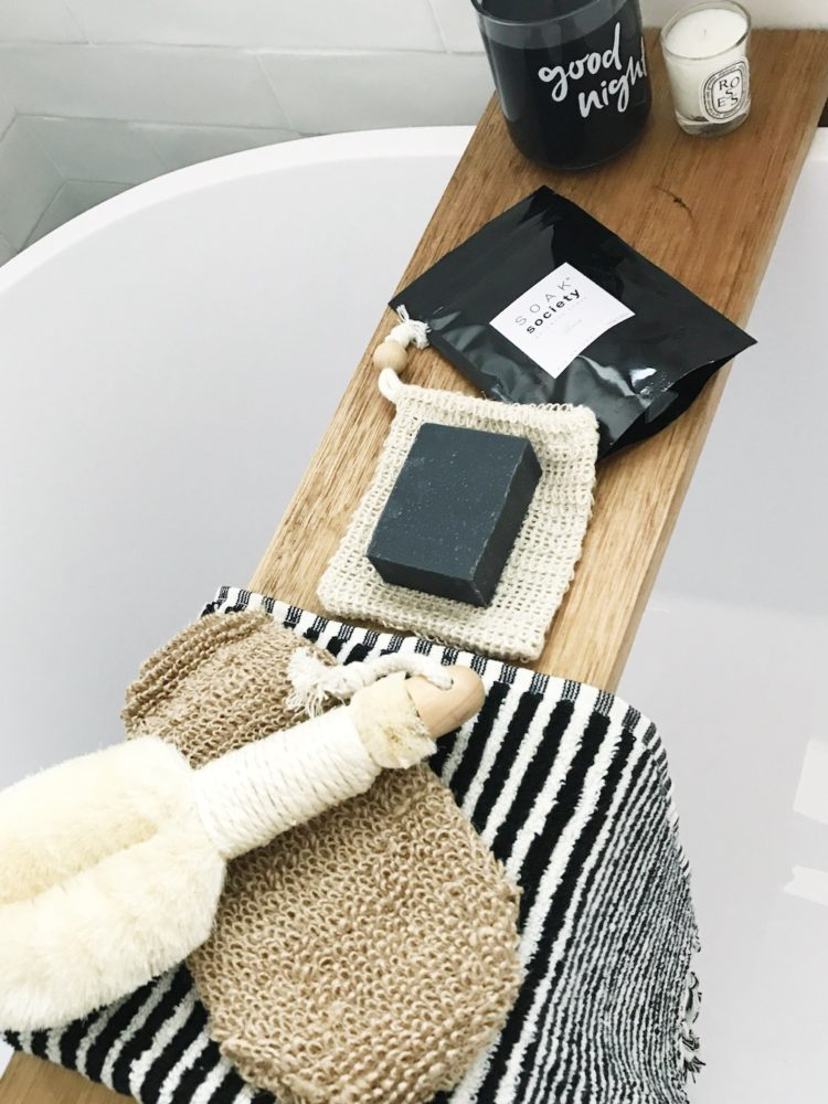 Black and white bathroom products