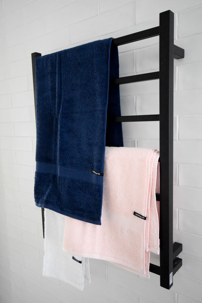 Pink and navy towels