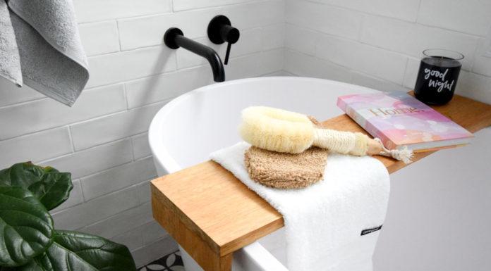 Towel over bath shelf
