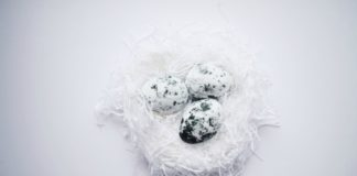 Speckled black and white bath bombs
