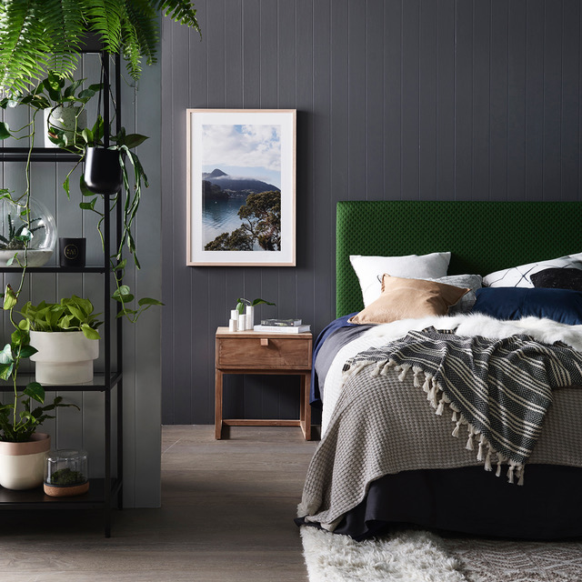 Green bedhead Autumn homewares