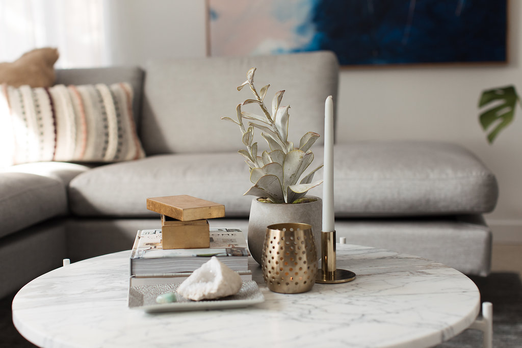 Brass coffee table styling