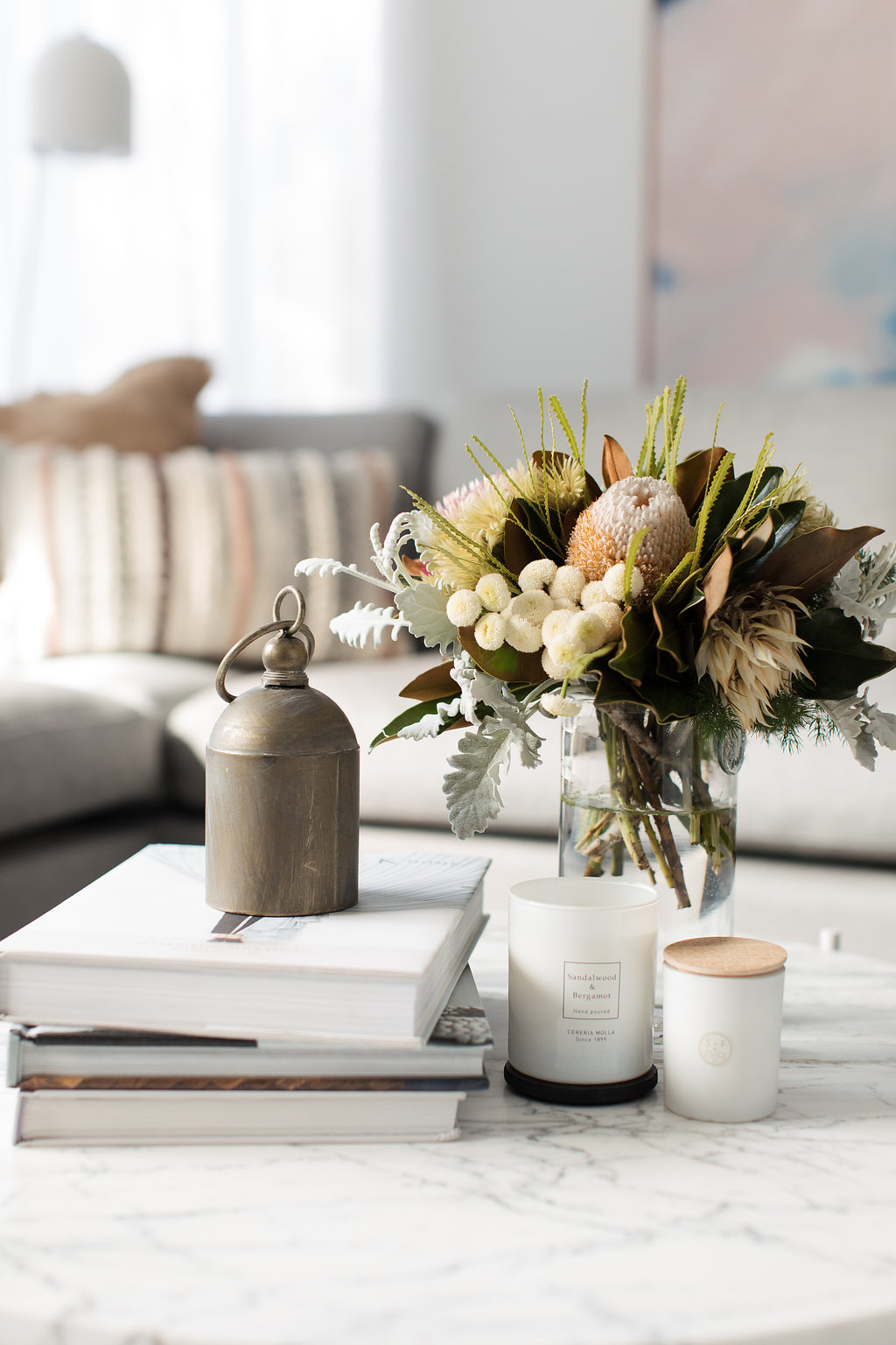 Candle coffee table styling
