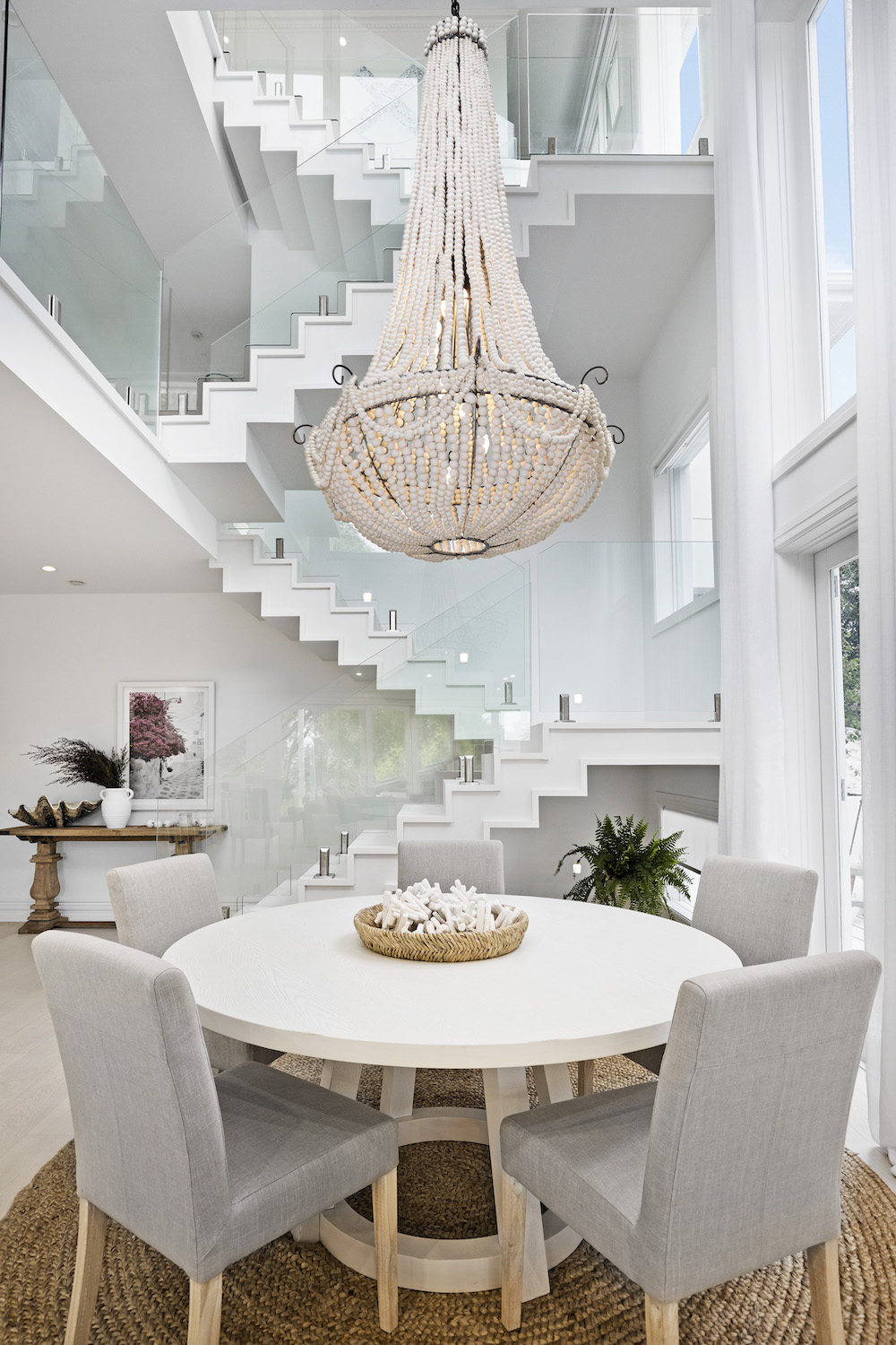 Dining space and open stairwell