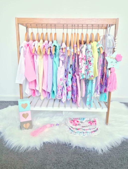 Kmart towel rack as kids clothing rack