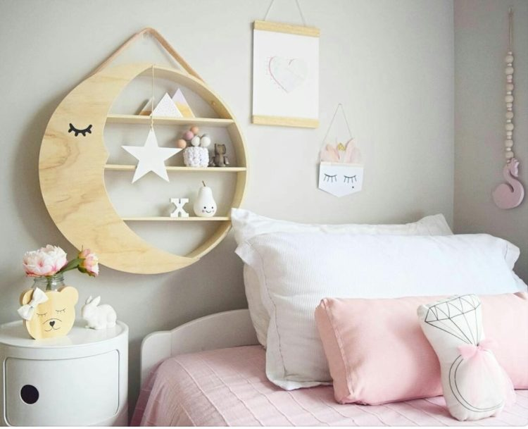 Bear and Sparrow gave this simple round shelf a stylish moon makeover