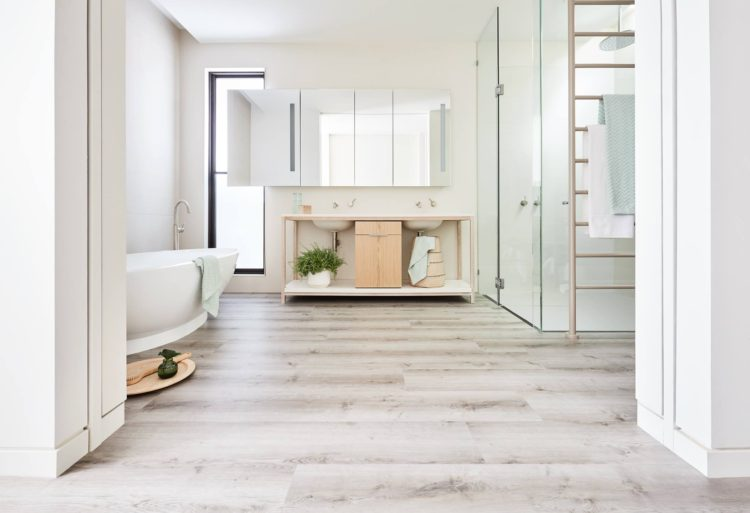 There's a new bathroom flooring material: Water resistant timber flooring by Carpet Court