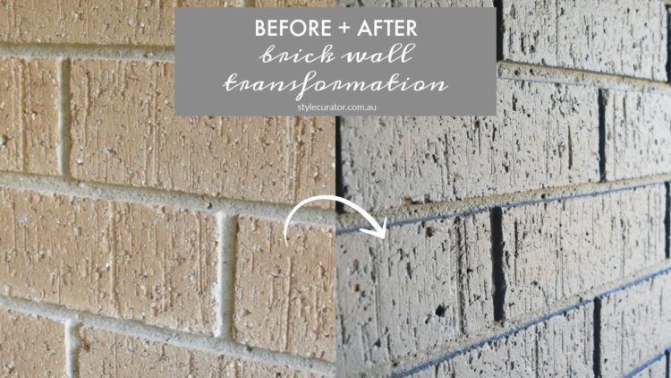 Internal brick wall before and after: 80s brown to on-trend grey