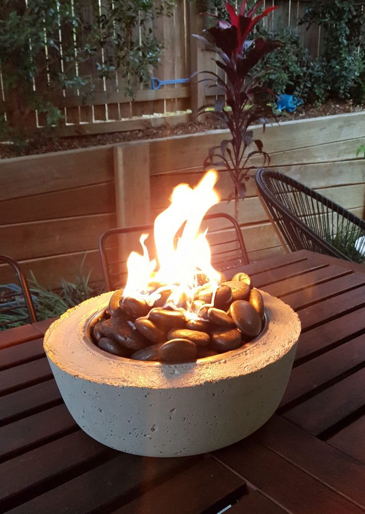 Firepit flame in mini fire bowl