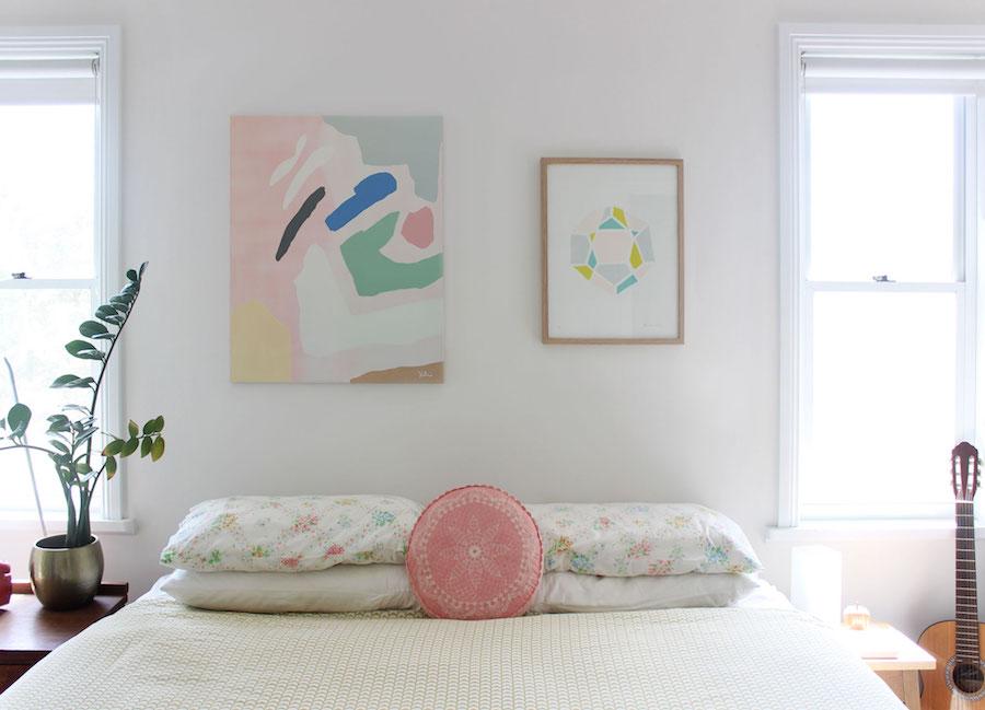 Abstract art in bedroom