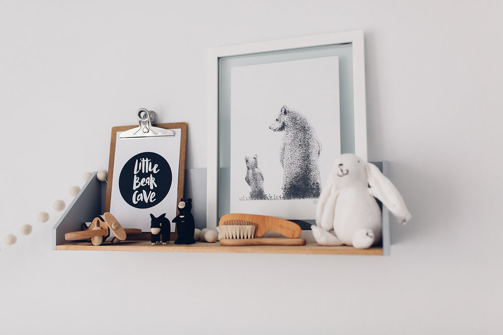 Bear shelf details unisex bear theme nursery