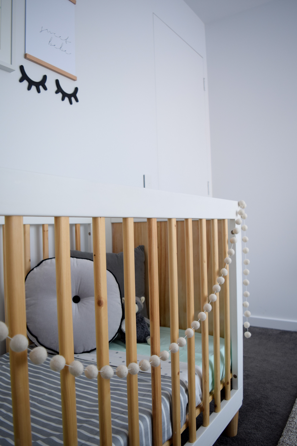 Bunting on baby cot