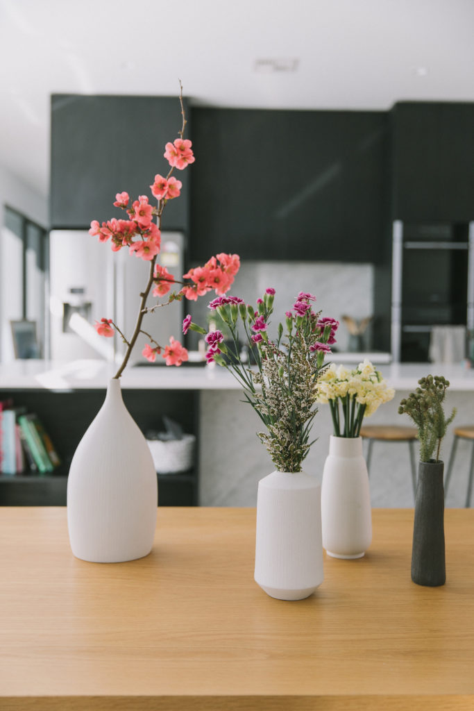 Vases in dining space