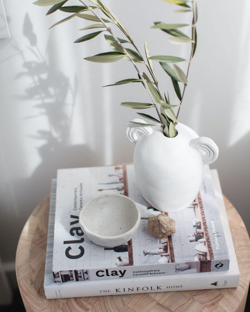 Bedside styling with raw ceramics