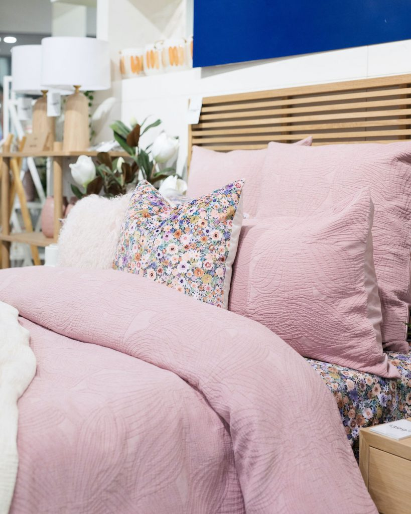 Pink bedding with patterned sheet set spring trends
