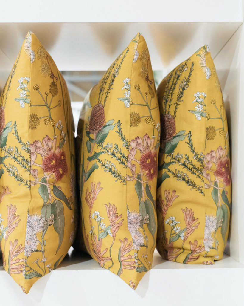 Yellow floral cushions spring trends