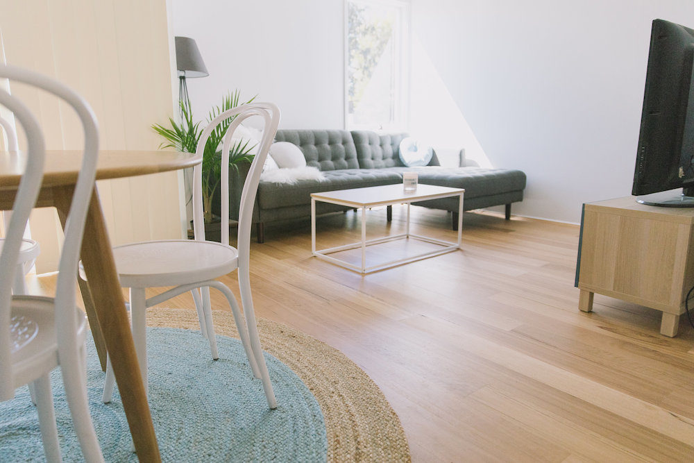Living room flooring before and after