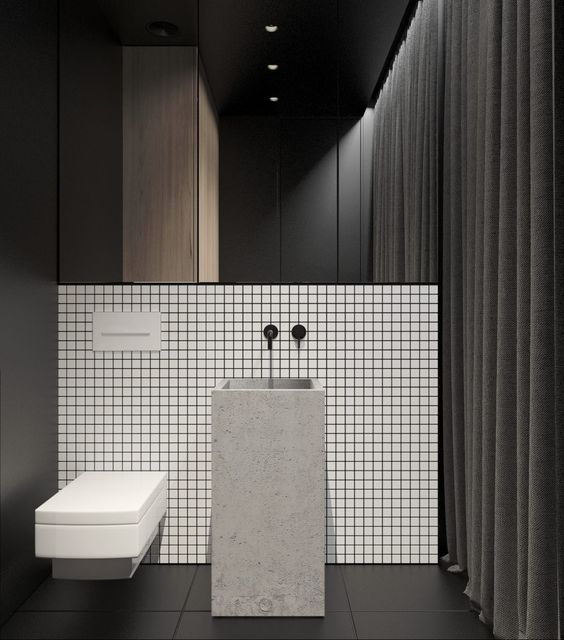 Grid bathroom feature tile