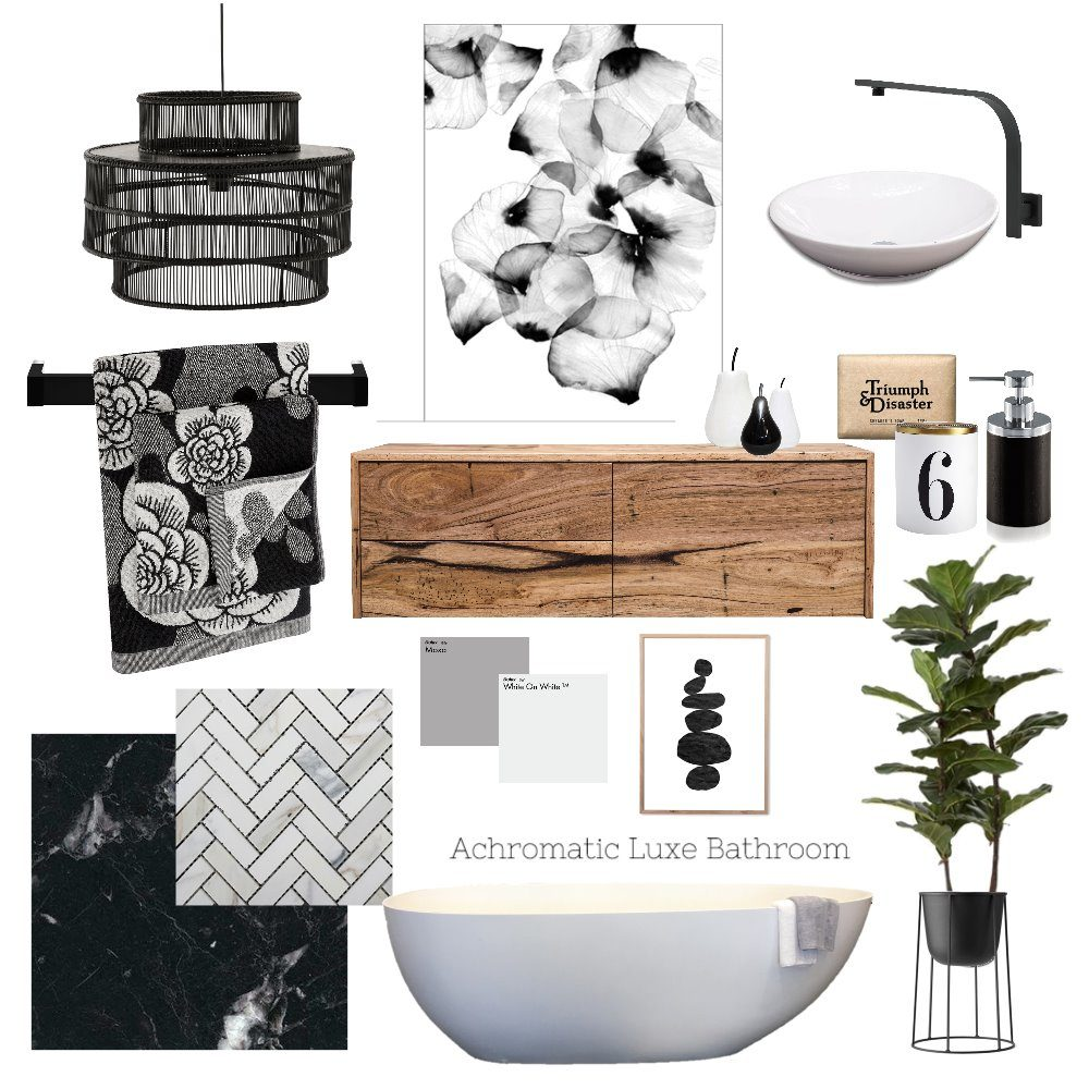 Monochromatic bathroom mood board