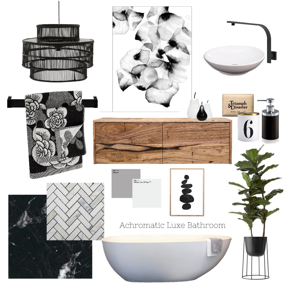 Style Sourcebook mood board monochromatic bathroom
