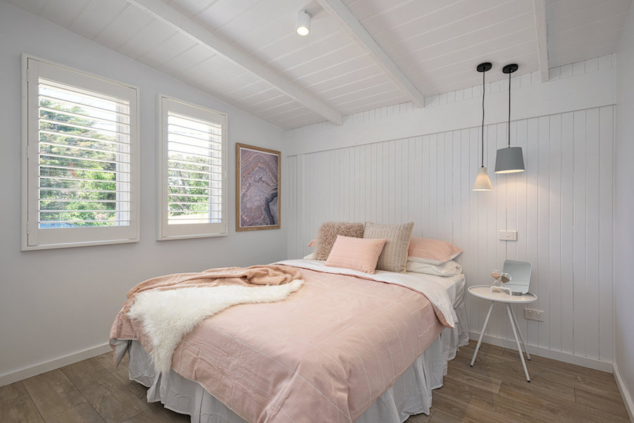 Blush pink bedroom Scandi-style home