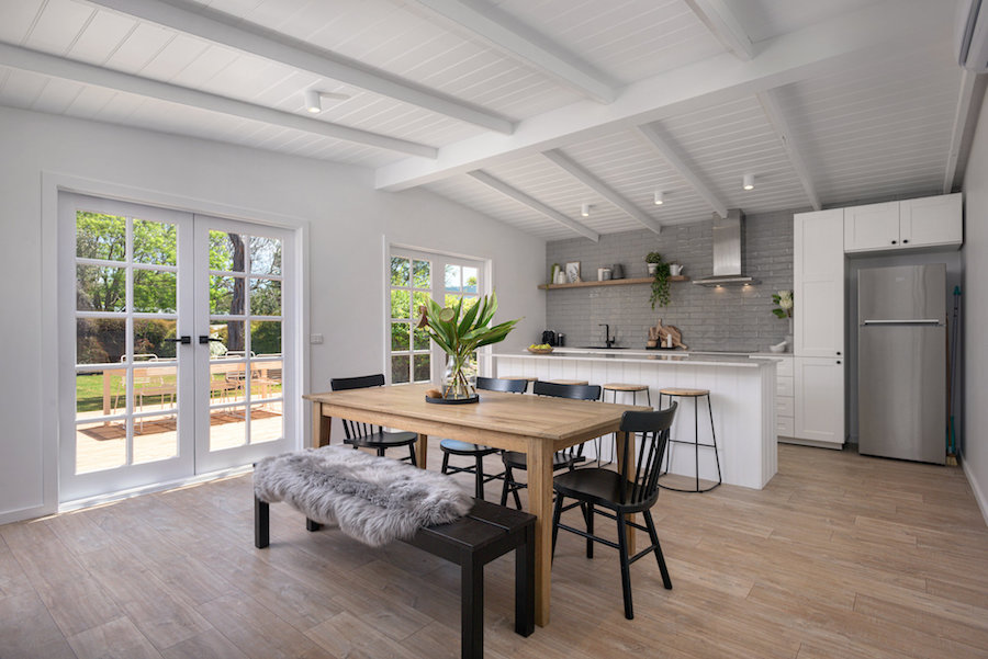 Open plan kitchen and dining area Scandi-style home