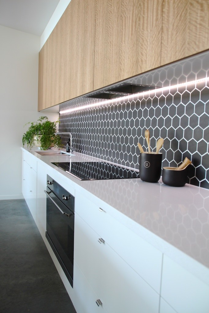 Hexagonal tile splashback